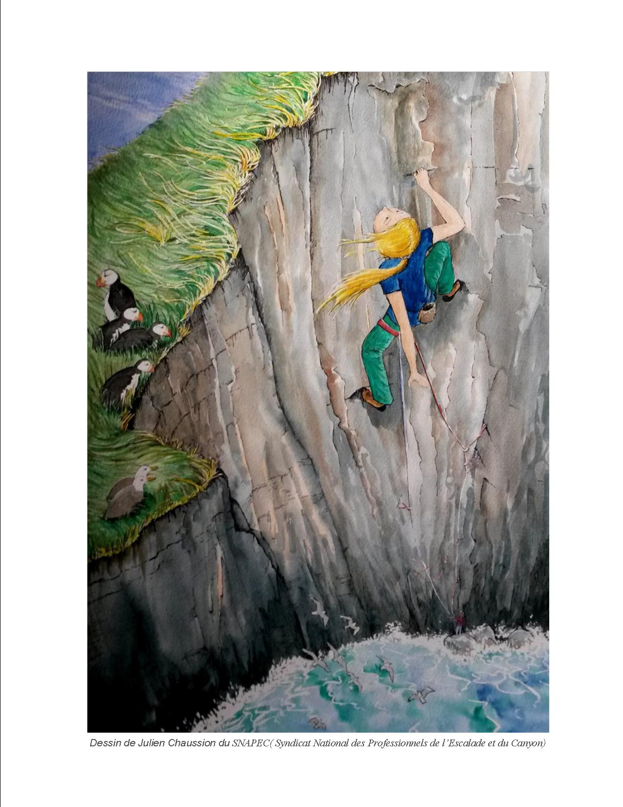 Dessin de Julien Chaussion  www.ekilibre64.com canyoning escalade rafting pays-basque virginie faure